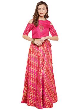 Pink Art Silk A Line Lehenga
