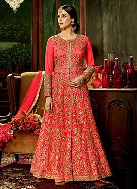 Pink Art Silk Abaya Style Anarkali Suit