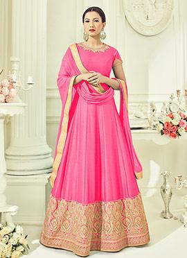 Gauhar Khan Pink Abaya Style Anarkali Suit