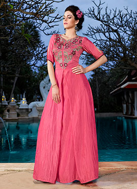 Pink Art Silk Anarkali Gown