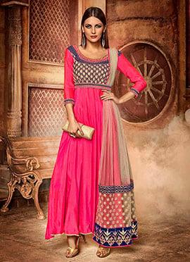 Pink Art Silk Anarkali Suit