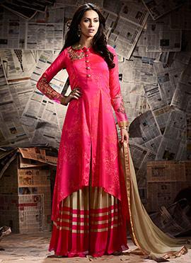 Pink Art Silk Asymmetrical Palazzo Suit
