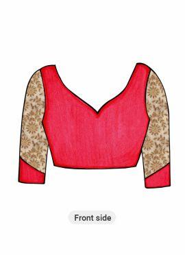Pink Art Silk Blouse with Gold Net Sleeve