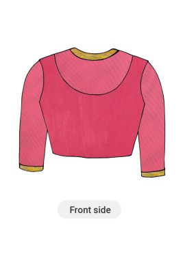 Pink Art Silk Blouse with Net Sleeve
