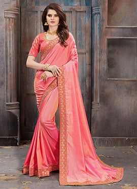 Pink Art Silk Border Saree