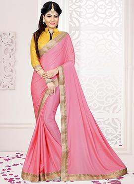 Pink Art Silk Border Saree