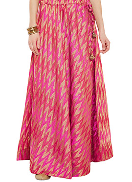 Pink Art Silk Brocade Skirt