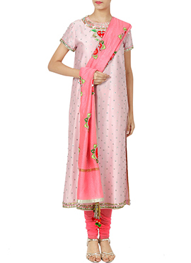 Pink Art Silk churidar Suit