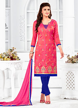 Pink Art Silk Churidar Suit