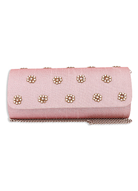Pink Art Silk Clutch