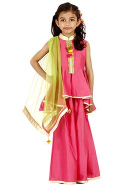 Pink Art Silk Cotton Kids Lehenga