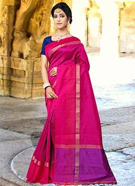 Pink Art Silk cotton Saree