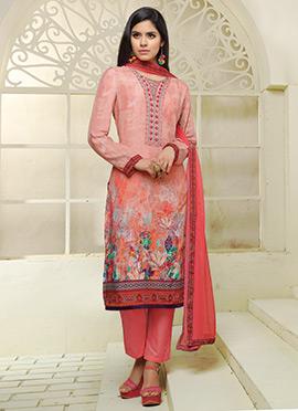 Pink Art Silk Cotton Straight Pant Suit