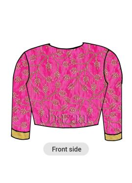 Pink Art Silk Embroidered Closed Neckline Blouse