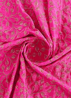 Pink Art Silk Embroidered Fabric