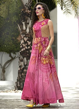 Pink Art Silk Gown