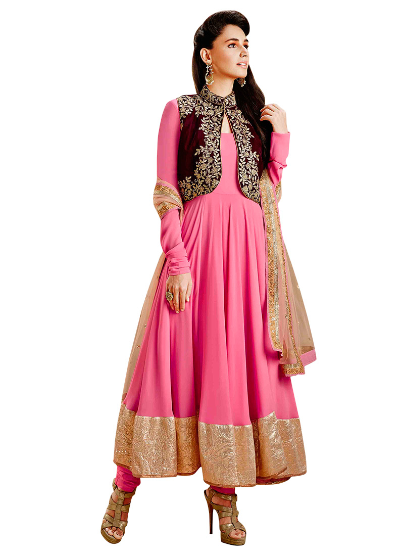 98a3b6f9be Buy Pink Art Silk Jacket Style Anarkali Suit, Zari , Embroidered ...