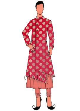 Pink Art Silk Jacket Style Sherwani