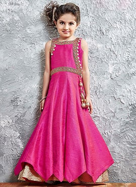 Pink Art Silk Kids Gown