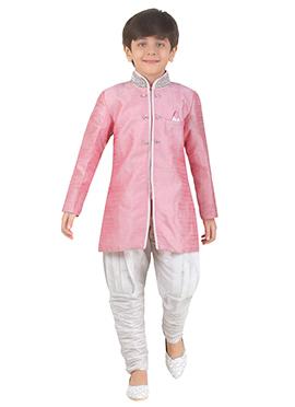 Pink Art Silk Kids Kurta Pyjama