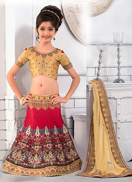 Pink Art Silk Kids Lehenga
