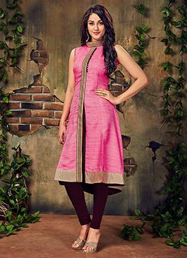 Pink Art Silk Knee Length Kurti