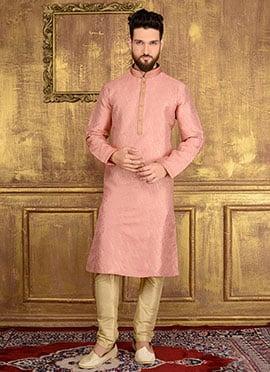 Pink Art Silk Kurta Pyjama