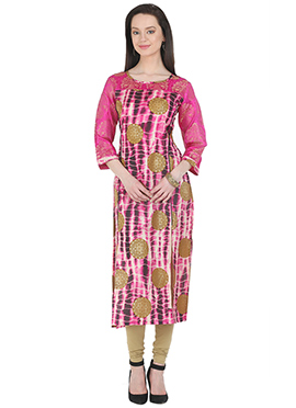 Pink Art Silk Kurti