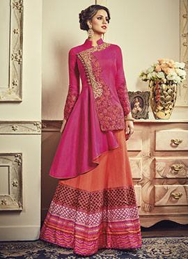 Pink Art Silk Long Choli A Line Lehenga