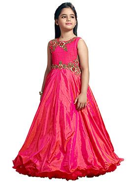 Pink Art Silk N Satin Blend Anarkali Gown