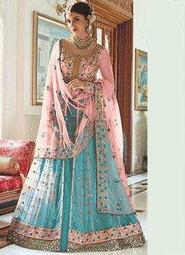 Pink Art Silk Net A Line Anarkali Lehenga