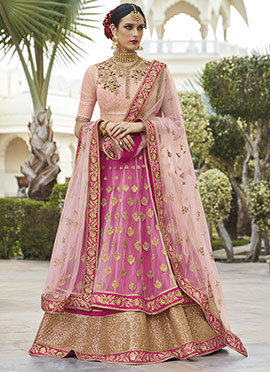 Pink Art Silk Net A Line Lehenga
