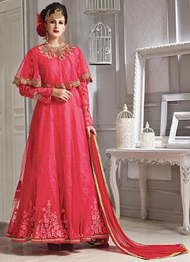 Pink Art Silk Net Anarkali Suit