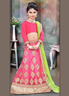 Pink Art Silk Net Kids Lehenga
