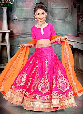 Pink Art Silk Net Kids Lehenga