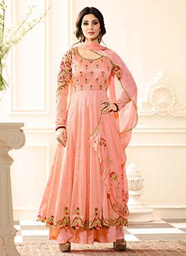 Peach Art Silk Palazzo Suit