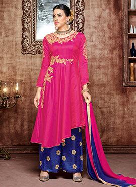 Pink Art Silk Palazzo Suit