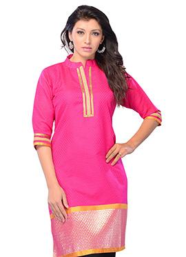 Pink Art Silk Short Kurti