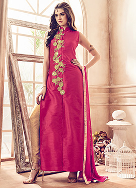 Pink Art Silk Straight Suit