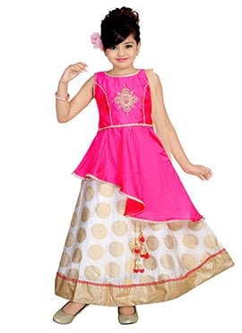 Pink Art Silk Teens Lehenga
