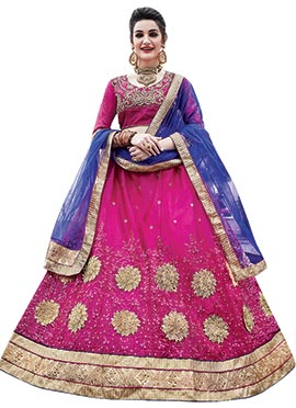 Pink Art Silk Umbrella Lehenga Choli