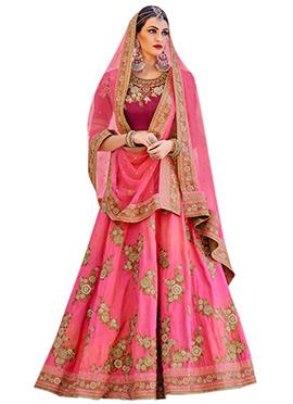 Pink Art Silk Umbrella Lehenga