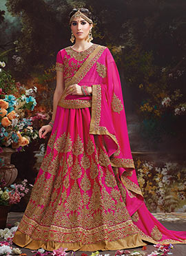 Pink Art Silk Umbrella Lehenga