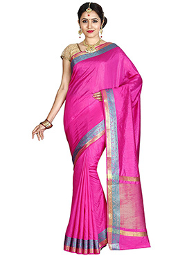 Pink Art Tussar Silk Saree