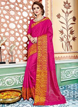 Pink Art Tussar Silk Saree