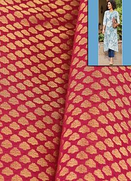 Pink Artsilk Brocade Dress Material