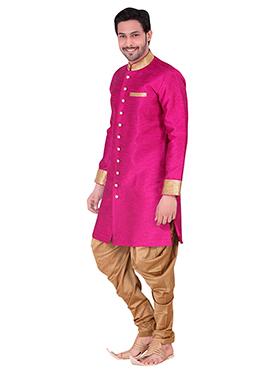 Pink Benarasi Art Silk Achkan Sherwani
