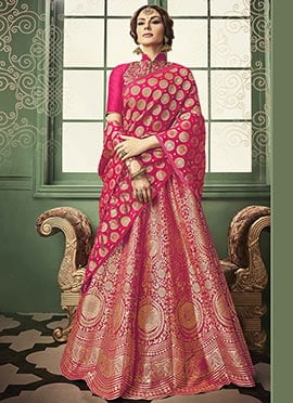 Pink Benarasi Art Silk Umbrella Lehenga