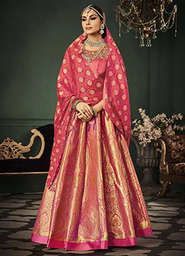 Pink Benarasi Art Silk Umbrella Lehenga