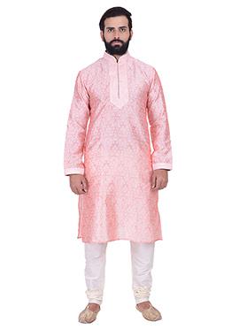 Pink Benarasi Cotton Silk Kurta Pyjama